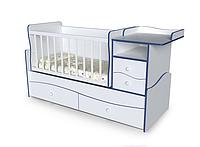 Детская кровать трансформер 4 в 1 (люлька+кровать+стол+комод) Волна от 0 до 15 лет