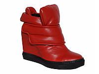 Женские красные кожаные кроссовки-сникерсы