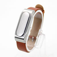 Ремешок для браслета Xiaomi Mi Band Leather Brown/Silver Лицензия