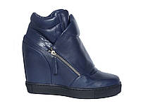 Женские синие кожаные кроссовки-сникерсы