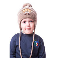 Детская вязаная шапка на мальчика с мишкой и помпоном