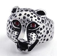 Стальное кольцо, голова леопарда 18р женские