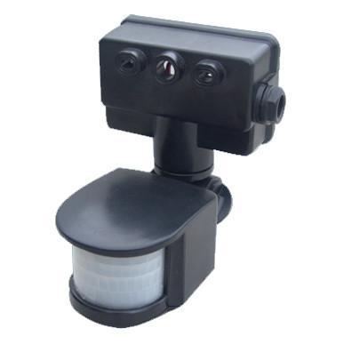 Датчик руху чорний, кут огляду 180°, дальність 12 м, IP44 (PIR-Sensor)