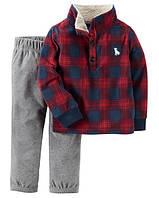 """Комплект Картерс штаны + кофта флис 2Т, 3Т, 5Т """"Клетка красная"""", фото 1"""