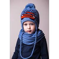 Детская вязаная шапка на мальчика тачки