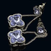 012-0040 - Серьги с кристаллами Swarovski Butterfly Lilac родий