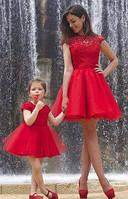Платье из гипюра с фатином набор мама и дочка