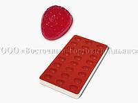 Профессиональная силиконовая форма для мармелада - Клубника - 24 фигуры, 36х30х20мм