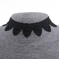 Чокер на шею из чёрного кружева,32см