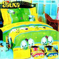Детское постельное белье Зайка,  100 % хлопок, бязь, ТМ Я люблю Украина, розовый, салатовый