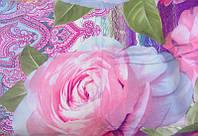 Постельное белье, комплект евро размер фиолетовый с розовыми цветами 3D