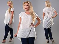 Асимметричная коттоновая женская блуза-туника