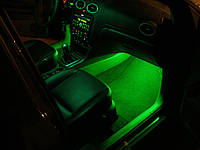 Подсветка ног салона автомобиля—зеленая! 4х15