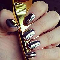 Зеркальная пудра для ногтей, 2 гр, серебро .