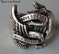 Кольцо для мужское из стали для байкера, крылья 20р, фото 1