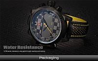 Мужские часы SHARK LED Digital Yellow Quartz Men, минеральное стекло, водонепроницаемые