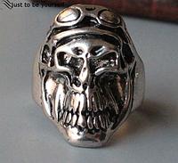 Кольцо для байкера из стали, череп гонщик