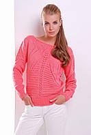 Яркий молодежный коралловый свитер р.44-50