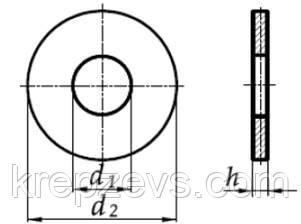 чертеж Шайба М10 увеличенная ГОСТ 6958-78, DIN 9021