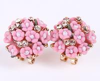 Позолоченые женские серьги с цветами