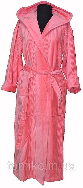 Халат Махровый Длинный Хлопок 100% цвет: розовый