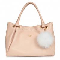 Женская кожаная сумка Katerina Fox бежево-розового (нюда) цвета из натуральной кожи (KF-562)