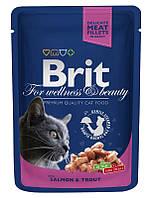 100271 Brit Premium Лосось и форель для взрослых кошек, 100 гр