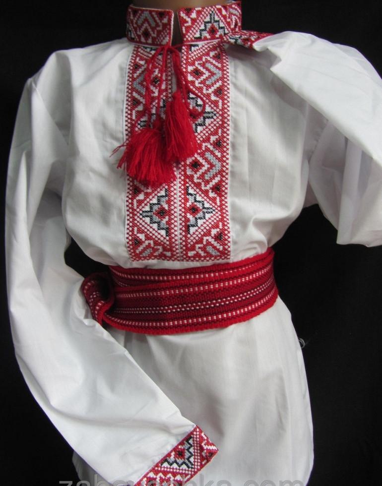 Вышиванка для мальчика с красным орнаментом Остап 2