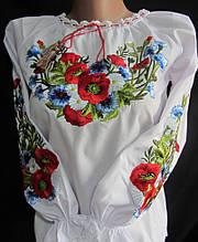 Вышитая блуза для девочки Луговые цветы