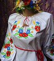 Вышитая блуза для девочки Полевые цветы