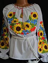 Вышитая детская блуза Подсолнухи