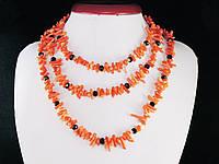 """Бусы из коралла """"иголочки"""", оранжевые 1,2м"""
