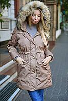 Женская  однотонная куртка парка с мехом енота