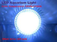 Светодиодная фитолампа для аквариума 3W стандартный цоколь Е27 - для роста коралловых рифов, водорослей и рыб, фото 2