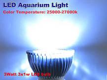 Светодиодная фитолампа для аквариума 3W стандартный цоколь Е27 - для роста коралловых рифов, водорослей и рыб, фото 3