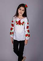 Детская вышитая блуза Маки красные