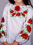 Детская вышитая блуза Маки красные, фото 3