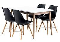 Комплект кухонный  ( cтол прямоугольный белый + 4 стула с мягкой сидушкой черные)