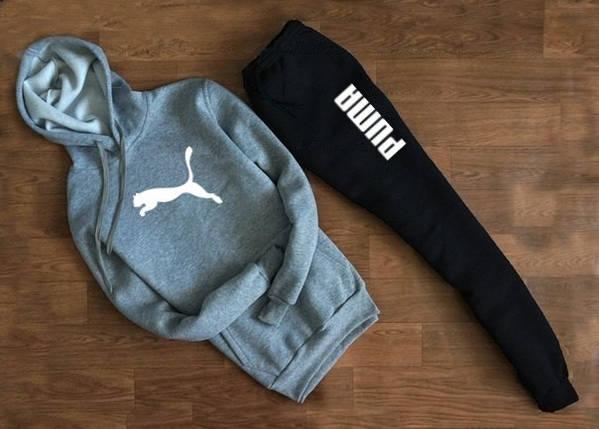 Мужской Спортивный костюм Puma серо чёрный c капюшоном (белый принт), фото 2
