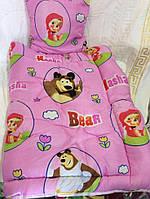 Детское одеяло и подушка силикон Маша и Медведь