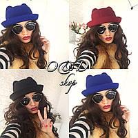 Шляпа с ушками женская фетровая разные цвета SHc09