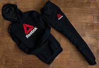 Мужской Спортивный костюм Reebok чёрный c капюшоном (большое лого)