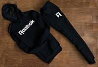 Мужской Спортивный костюм Reebok чёрный c капюшоном (белый принт)