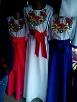 Длинное белое платье вышиванка Подсолнух