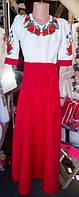 Длинное детское платье вышиванка Подсолнух