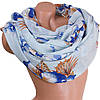 Эффектный женский шарф из хлопка 180 на 86 см  ETERNO (ЭТЕРНО) ES0908-9-2 голубой