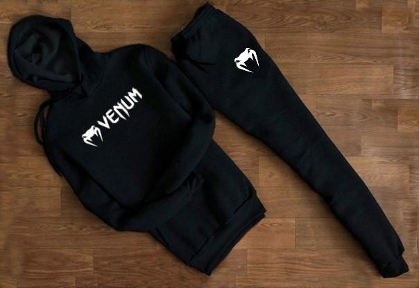 Мужской Спортивный костюм Venum чёрный с капюшоном