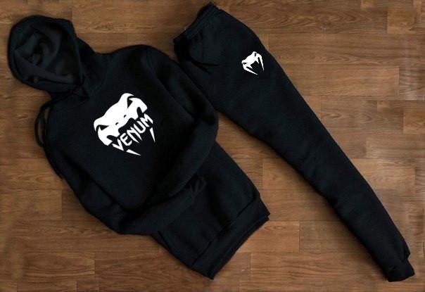 Мужской Спортивный костюм Venum чёрный с капюшоном (белый принт)
