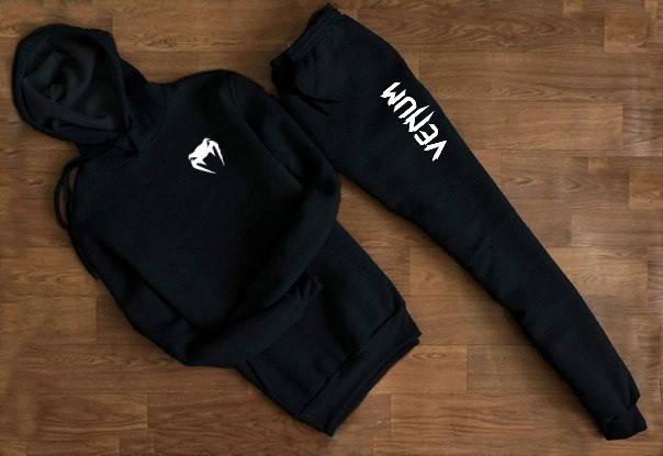 Мужской Спортивный костюм Venum чёрный с капюшоном (маленькое лого)), фото 2