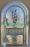 """Дверка спаренная чугунная со стеклом """"Бамбук хром"""" (Румыния), фото 1"""